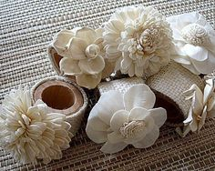 Napkin Rings - Set Of 6 Made With Burlap And Sola Flowers. Houseofpeltier