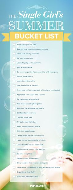 Check out our printable single girl's Summer bucket list!