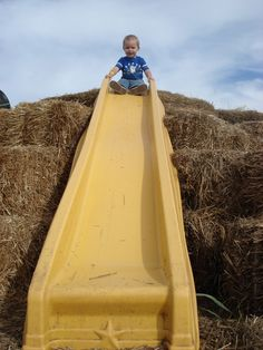 Awesome idea.  Put a slide on hay bales.