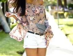 floral top & white shorts