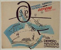 """Fortunato Depero (Italian, 1892–1960)   /   Paesaggio Guerresco Numerico     1915  """"Paesaggio Guerresco Numerico  ARTIST:Fortunato Depero (Italian, 1892–1960)  WORK DATE: 1915"""""""
