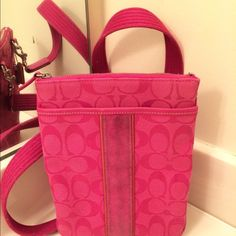 Coach Authentic Crossbody Hot Pink  Coach Authentic Crossbody Hot Pink. Fabulous HOT PINK Crossbody!!! The suede needs a light cleaning. A girl never has too many Crossbody bags!!! It's a must have Coach Bags Crossbody Bags