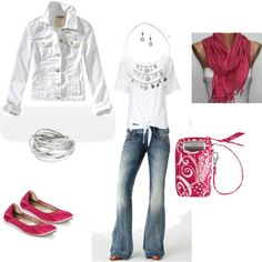 Pretty and casual in pink, denim and white, created by heatherbodkin on Polyvore