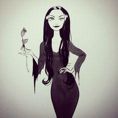 Morticia Addams by Elsa Chang for inktober Morticia Addams, Elsa Chang, Charles Addams, 2d Art, Love Art, Magick, Inktober, Illustrators, Character Art