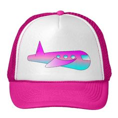 Pink and light blue airplane baseball cap