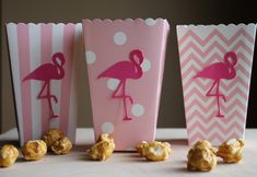 Flamingo Popcorn Boxes, Flamingo Party Decoration, Hawaiian Party, Luau Party…