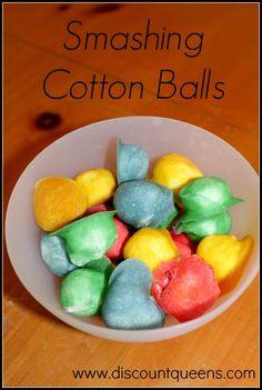 Fun Things For Kids To Do #2 : Smashing Cotton Balls  http://www.discountqueens.com/fun-kids-2-smashing-cotton-balls/