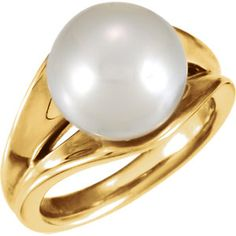 63105 / 14kt Yellow / 12.00 MM FASHION / Polished / PAS SOUTH SEA CULT PEARL RING/
