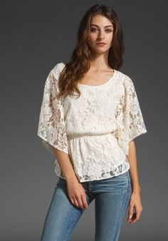 Beyond Vintage $255 Lace Flutter Sleeve Top in Ivory Size XS #BeyondVintage #Blouse