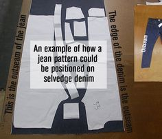 For the Selvedge Jeans project.  A pattern for selvedge denim jeans has straight outer seams for economy of layout.
