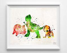 Toy Story Print, Rex, Slinky Dog, Hamm, Disney Poster, Watercolor Art, Pixar Print, Wall art, Home Decor, Fathers Day Gift