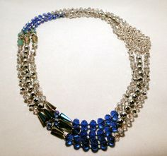 Hues of Blues 3 Strand Crystal Necklace by HoldenAccessorized, $85.00