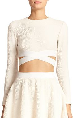 Elizabeth and James Sedonna Criss-Cross Textured Cropped Top
