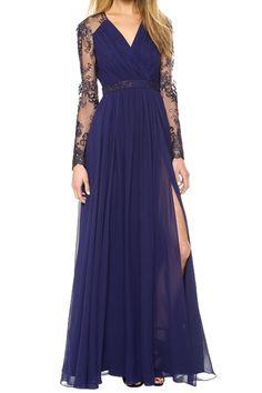 Lace Spliced Long Sleeve Maxi Dress