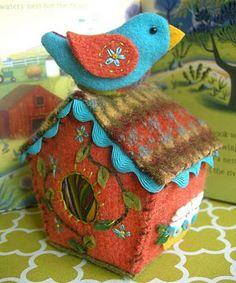 felted wool birdhouse