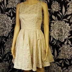 LC Lauren Conrad fit & flare dress Beautiful, perfect for holiday parties! Beige with silver metallic floral print dress. Open detail and invisible zipper in back. Worn once. LC Lauren Conrad Dresses Mini