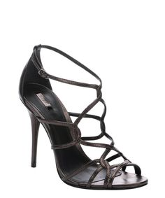 Schutz metallic grey 'Bunny' sandals
