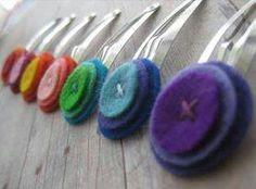 Felt button hair clips