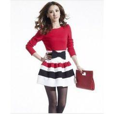 New fashion spring-autumn Temperament slim thin lady A word striped bubble dress