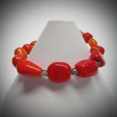 Red Orange Stretch Bracelet by LadyBirdJewelry on Etsy, $16.00