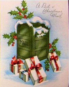 "Vintage Christmas card, ""Bit o' Christmas mail. Christmas Mail, Old Time Christmas, Old Fashioned Christmas, Christmas Holidays, Christmas Crafts, Vintage Christmas Images, Retro Christmas, Christmas Pictures, Vintage Greeting Cards"
