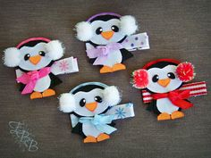 Penguin Ribbon Sculpture Hair Clip, Baby It's Cold Outside hair bow