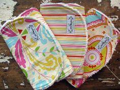 Baby Girl Burp Cloths - Set of 3 - Kumari Garden - Sujata Flourish, Tanaya Stripe & Chandra. $25.50, via Etsy.