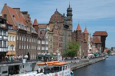 River by Old Town of Gdansk, Poland.