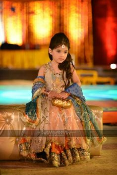 Latest peach and blue baby girl wedding frocks in Pakistan Little Girl Wedding Dresses, Baby In Wedding Dress, Wedding Frocks, New Wedding Dresses, Wedding Bouquets, Pakistani Wedding Outfits, Pakistani Girl, Pakistani Dresses, Pakistani Lehenga