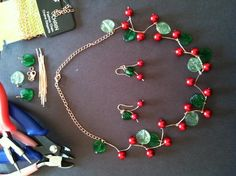 Looking for jewelry project inspiration? Check out Cherry necklace and earring set by member cathy610@gmail.com. - via @Craftsy