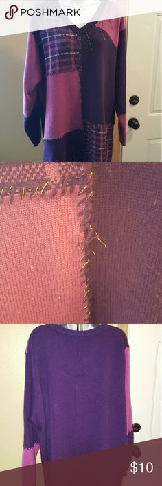 PLUS SIZED Women's sweater Plus sized women's sweater with beading. Has a few flaws- see 2nd pic. Stitch of the purple and gold strands broke in one spot, a snag, and a tiny bit of pilling. Still looks good other than those flaws. Price reflects. Sweaters