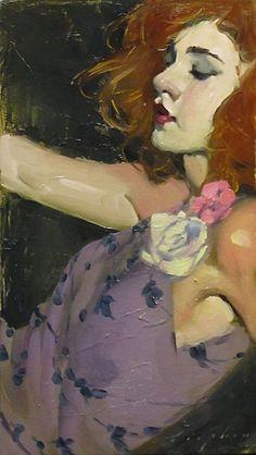 Malcolm T. Liepke (b. 1953), oil on canvas {figurative #impressionist beautiful redhead woman face profile portrait oil painting #loveart