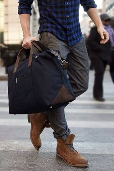 I like the checked shirt with the cuffed sleeves + this type of bag + I'm looking for wool/flannel trousers and these caught my attention.