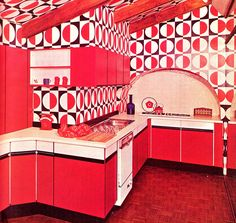 1970s high-impact kitchen with op-art tiles.