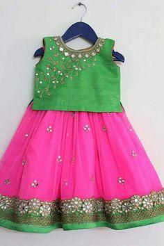 Cute pink and green pattu dress