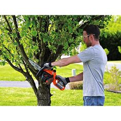 Black+decker Max* Lithium Chainsaw with 10 Oregon Bar and Chain and Tool Free Tensioning - Orange Sorbet Top Handle Chainsaw, Electric Chainsaw, Chainsaw Bars, Stihl Chainsaw, Chainsaw Reviews, Battery Powered Chainsaw, Cordless Chainsaw, Tree Felling, Photo Link