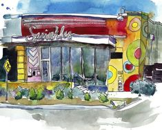 Watercolor painting of iconic bakery. Urban Points of Interest II Wall Art by Paul McCreery from Great BIG Canvas. : Watercolor painting of iconic bakery. Urban Points of Interest II Wall Art by Paul McCreery from Great BIG Canvas. Big Canvas, Canvas Frame, Canvas Prints, Framed Prints, Art Prints, Dining Room Art, Watercolor Artwork, Retro Toys, Art Decor