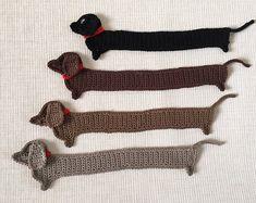 Sausage dog Crochet Bookmark, Funny Dog bookmark, Handmade cute Bookmark, Crochet Dauch Hund, Crochet Mouse