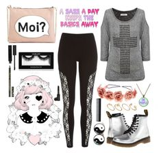"""Pastel Goth"" by wronghysteria ❤ liked on Polyvore featuring Dr. Martens, River Island, Diego Reiga, Charlotte Russe, Topshop, Cynthia Rowley, ASOS and GHD"