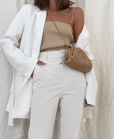 Brunch Outfit, Mode Outfits, Casual Outfits, Fashion Outfits, White Summer Outfits, Outfit Summer, Neutral Outfit, Aesthetic Clothes, Classy Aesthetic