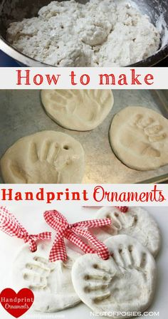 How to make Handprint Ornaments. Great gift for the grandparents or a fun project for the classroom. Make Salt Dough Handprint Ornaments to document those cute chubby hands. A great gift to give the grandparents or a fun classroom project for young kids. Baby Crafts, Christmas Projects, Holiday Crafts, Holiday Fun, Fun Crafts, Christmas Ideas, Quick Crafts, Christmas Activities, Child Christmas Crafts