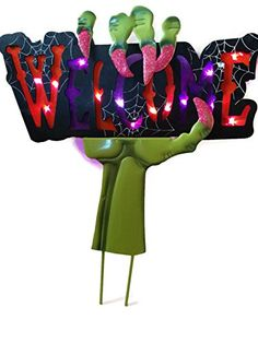 Light up the Halloween night with this color-changing lighted welcome sign stake