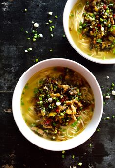 Noodle soup with pork and pickled greens (xuecai rousi mian / 雪菜肉丝面)-an easy, satisfying comfort food meal in Chinese households everywhere, where all you need is a few items from your pantry.