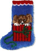 """Puppy Stocking. Finished size 12x17"""". Comes with easy-to-follow full color chart, 5-mesh canvas, 3 ply pre-cut acrylic yarn and complete instructions. Backing fabric, finishing supplies,"""