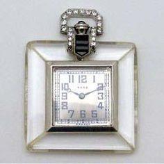 C.H. Meylan, Swiss Art Deco, Platinum, Rock Crystal, Diamond, Black Onyx Pocket Watch, Circa 1925, Retailed by Raymond Yard