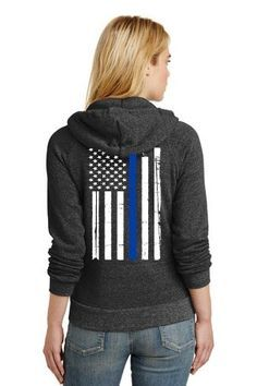 Alternative Apparel Thin Blue Line Flag Women's Heather Charcoal Zippered Hoodie This eco-fleece sweatshirt has a slim silhouette, ribbed cuffs and a professionally screenprinted Thin Blue Line U. flag vertically down the back. Police Flag, Police Wife, Police Tees, Police Officer, Thin Blue Line Flag, Thin Blue Lines, Alternative Outfits, Alternative Apparel, Nine Line Apparel