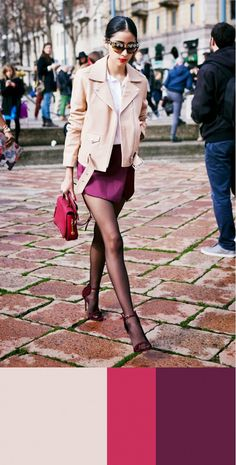 Denni Elias from Chic Muse wearing a pink and plum ensemble. // #Streetstyle