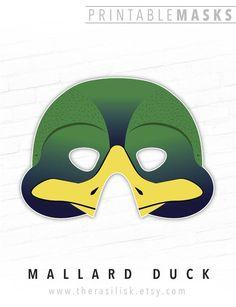 Printable Mask, Halloween Mask, Green Duck, # #printablemask #halloweenmask #greenduck #mallardduck #duckling #bird #mask #animalmask #partymask #plucky #photoboothprop #forkids #papermask Printable Halloween Masks, Printable Masks, Printables, Free Printable, Animal Themed Birthday Party, Animal Party, Theme Carnaval, Duck Bird, Bird Masks