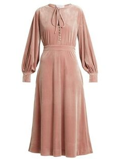 Luisa Beccaria Tie-neck Balloon-sleeve Velvet Midi Dress In Pink Pink Velvet Dress, Pink Midi Dress, Velvet Dresses, Modest Fashion, Fashion Dresses, Women's Fashion, Velvet Fashion, Luisa Beccaria, Classy Dress