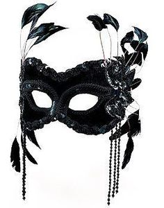 Black Velvet Eye Mask Masquerade with Raven Feathers Halloween Fancy Dress - The Dragons Den Fancy Dress